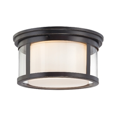 Modern Flushmount Light with White Glass in Palladian Bronze Finish