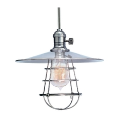 Mini-Pendant Light with Silver Cage Shade