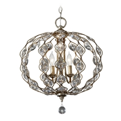 Feiss 3-Light Crystal Chandelier in Burnished Silver
