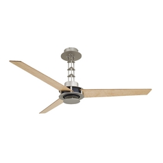 Modern Ceiling Fan in Steel / Chrome Finish and Three Maple Fan Blades