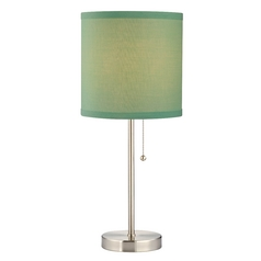 Design Classics Lighting Pull-Chain Table Lamp with Light Mint Green Drum Shade 1900-09 SH9525