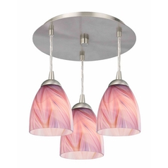 3-Light Semi-Flush Ceiling Light with Pink Art Glass - Nickel Finish