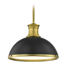 Farmhouse Black Pendant Light with Brass 13.38-Inch Wide