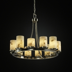 Justice Design Lumenaria 12-Light Chandelier in Brushed Nickel
