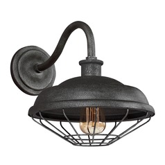 Farmhouse Barn Light Outdoor Wall Light Grey Metal by Feiss Lighting