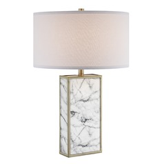 Lite Source Mollia Faux Marble Table Lamp with Drum Shade