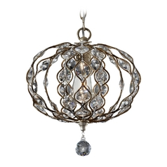 Feiss 1-Light Crystal Chandelier in Burnished Silver
