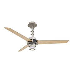 Modern Chrome Ceiling Fan with Three Maple Fan Blades and Light Kit