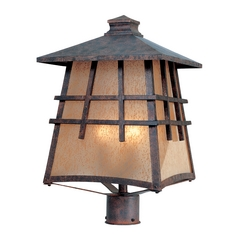 Post Light with Amber Glass in Mediterranean Patina Finish