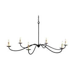 Currey and Company Chandelier in Black Finish