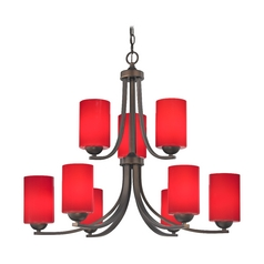 Two Tier Chandelier with Red Cylinder Glass and Nine Lights