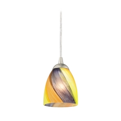 Contemporary Mini-Pendant Light with Bell Art Glass Shade
