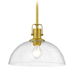 Farmhouse Brass Seeded Glass Pendant Light 13-Inch Wide