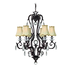 Hinkley Lighting Chandelier with Beige / Cream Shades in Golden Bronze Finish 4406GR
