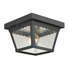 Seeded Glass Close To Ceiling Light Black Thomas Lighting