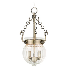 Livex Lighting Everett Antique Brass Mini-Pendant Light with Bowl / Dome Shade