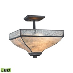 Tan Mica Silver Mercury Glass Square LED Semi-Flushmount Light Bronze Elk Lighting