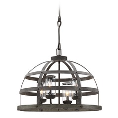 Savoy House Lighting Aiken Winterwood Pendant Light with Cylindrical Shade