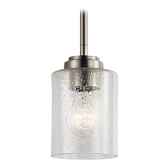 Seeded Glass Mini-Pendant Light Brushed Nickel Winslow by Kichler Lighting
