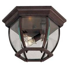 Close To Ceiling Light with Clear Glass in Antique Bronze Finish