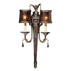 Sconce Wall Light with Brown Glass in Sanguesa Patina Finish