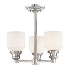 Semi-Flushmount Light with White Glass in Polished Nickel Finish