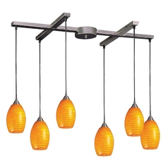 Modern Multi-Light Pendant Light with Yellow Glass and 6-Lights