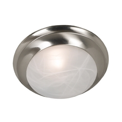 Modern Flushmount Light with Alabaster Glass in Brushed Steel Finish