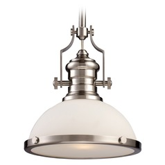 Elk Lighting Chadwick Satin Nickel LED Pendant Light with Bowl / Dome Shade