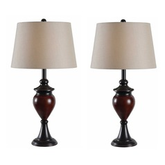 Kenroy Home Lighting Elliot Oil Rubbed Bronze with Sienna Accents Table Lamp Set