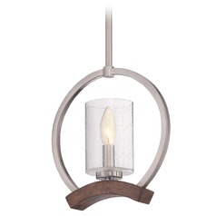 Seeded Glass Mini-Pendant Light Brushed Nickel Quoizel Lighting