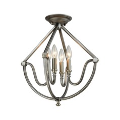 Elk Lighting Stanton Weathered Zinc, Brushed Nickel Semi-Flushmount Light
