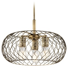 Farmhouse Pendant Light Brass Devin by Kichler Lighting