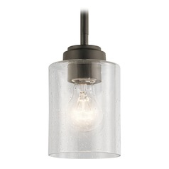 Seeded Glass Mini-Pendant Light Olde Bronze Winslow by Kichler Lighting