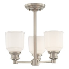 Semi-Flushmount Light with White Glass in Satin Nickel Finish