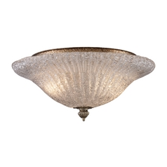 Flushmount Light w/Textured Clear Glass in Antique Silver Leaf Finish