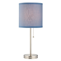 Satin Nickel Table Lamp with Blue Linen Drum Shade