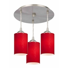 3-Light Semi-Flush Ceiling Light with Red Glass - Nickel Finish