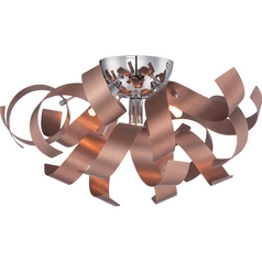 Mid-Century Modern Flushmount Cluster Light Copper Ribbons by Quoizel Lighting