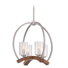 Seeded Glass Mini-Chandelier Brushed Nickel Quoizel Lighting