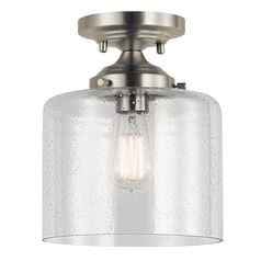 Seeded Glass Semi-Flushmount Light Brushed Nickel Winslow by Kichler Lighting