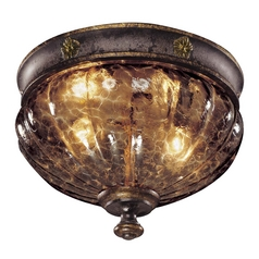 Flushmount Light with Brown Glass in Sanguesa Patina Finish