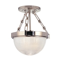 Semi-Flushmount Light with Clear Glass in Satin Nickel Finish