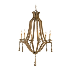 Modern Chandelier in Washed Wood Finish
