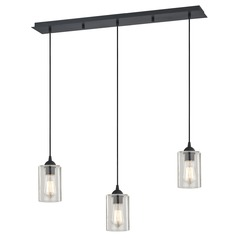 Design Classics Gala Matte Black Multi-Light Pendant with Cylindrical Shade
