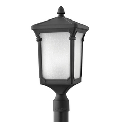 LED Post Light with White Glass in Museum Black Finish