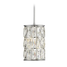Polished Chrome LED Pendant Light with Cylindrical Shade Citrine Collection by Savoy House