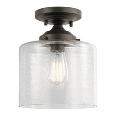 Seeded Glass Semi-Flushmount Light Olde Bronze Winslow by Kichler Lighting