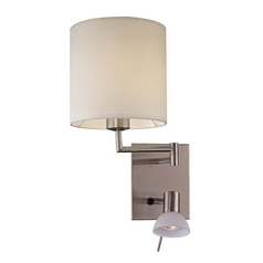 Modern Swing Arm Lamp with White Fabric Shade in Brushed Nickel Finish