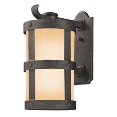 Outdoor Wall Light with Beige / Cream Glass in Barbosa Bronze Finish